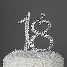 Numero 18 Decorazione topper argento per 18 compleanni con strass e brillantini.