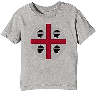 Sardaigne Nationale Drapeau Enfants Unisexe Garçon Filles T-Shirt Cou D'équipage Gris Manches Courtes Taille XL Kids Unisex Boys Girls Grey X-Large Size XL