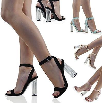 ESSEX GLAM Gamuza Sintética Sandalias con tacón de plexiglás transparente con tiras de cierre al tobillo para fiesta