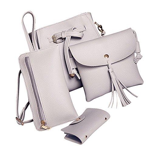 Weibliche Tasche Umhängetasche Brieftasche Vier Sätze DAY.LIN Frauen Vier Set Fashion Handtasche Schultertasche Vier Stücke Einkaufstasche Crossbody Wallet (Grau)
