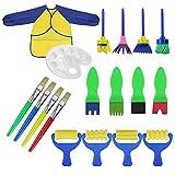 NiceButy 18 PCS Pinceaux Brosses de Peinture Enfant Dessin Art DIY Outils Éponge de Dessin Peinture Brosse avec Palette et Tablier Rouleaux de Peinture
