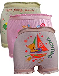 Lurewear Kids Multi Colur Multi Design Bloomers (Pack of 3)
