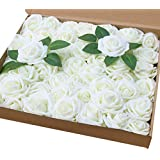 Amajoy Lot de 50 roses artificielles de couleur ivoire à l'aspect et au toucher naturel, pour des bouquets personnalisés de m