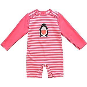 CharmLeaks Baby Boy Short Sleeve Zip Rash Guard Striped UV Protection One Piece Swimwear Swimsuit UPF 50+