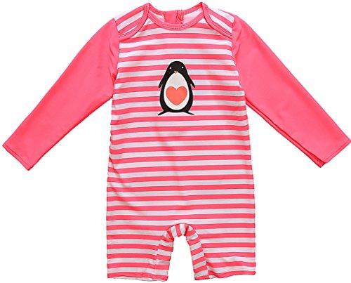 CharmLeaks Baby - Einteiler Langarm Badeanzug für Säugling Kinder mit Pinguin Druck und Streifen UV-Schutz 50+ 6-12 Monate