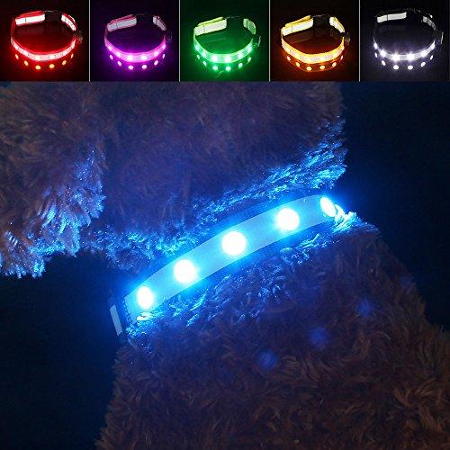 LED Collier pour Chiens, Pawow Ultra Lumineux Réglable Clignotant Sécurité Chien Réfléchissant Collier Colliers de Dressage pour Chats