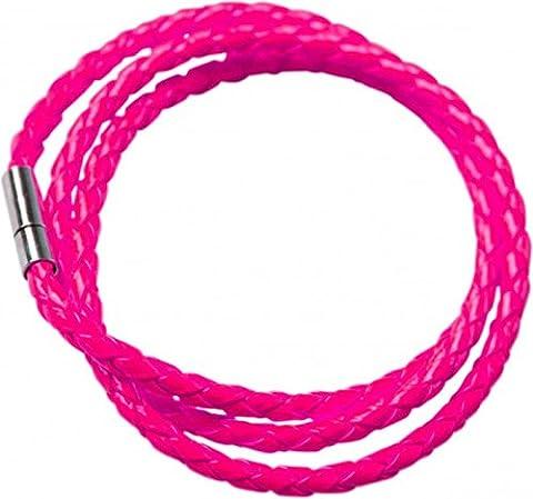 Bracelet tressé rose fluo