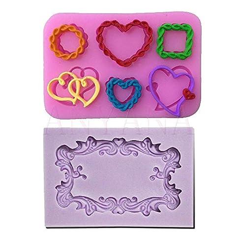 Anyana de nombreux cadres photo miroir Cœur Amour Moule en silicone Ornate Vintage Fondant Cake Moule à