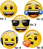 alles-meine.de GmbH 1 Stück _ Bügelbild -  Emoji - mit Sonnenbrille - Brille  - 6,8 cm * 6,6 cm..