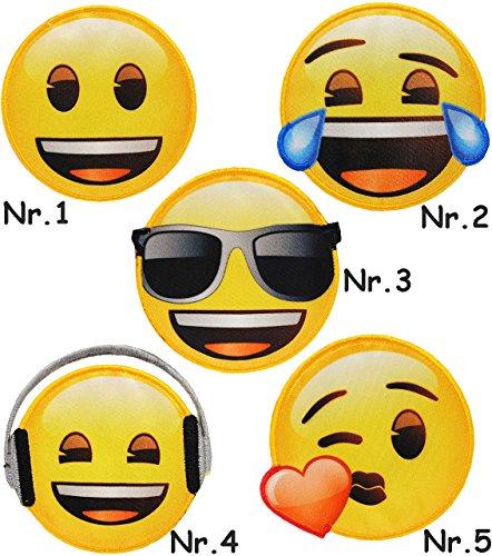 alles-meine.de GmbH 1 Stück _ Bügelbild -  Emoji - mit Sonnenbrille - Brille  - 6,8 cm * 6,6 cm - Applikation & Aufnäher - gewebter Flicken - Bügelsticker / Textilsticker - Bü..