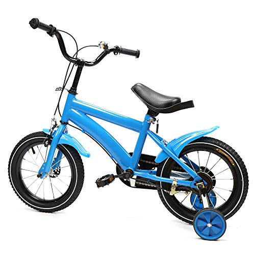 "ROMYIX Kinder Fahrrad Kinderfahrrad 14"" Zoll Kids Bike Fahrrad mit Stützräder (Blau)"