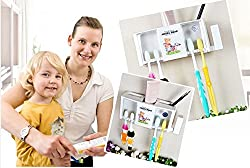 Cute Angel Bear Plastic Toothbrush Stand Holder Rack with 2 Suction Cups and Hook for Holding Napkin, Tongue Cleaner, Mugs - Wall Mounted
