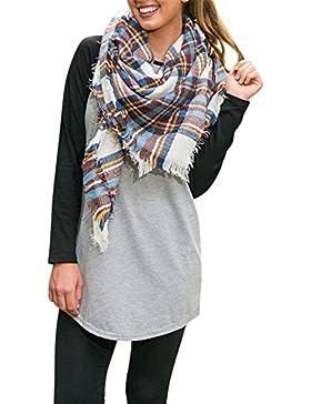 Kinikiss Mujer Camisas Manga Larga Moda Casual Round Collar Algodón Blusa Tops