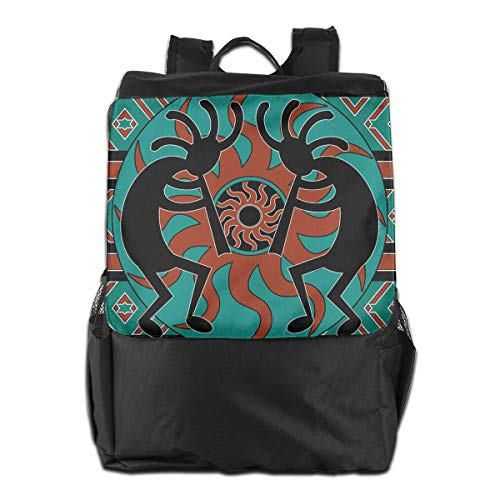 Schultaschen Schule,Freizeit Rucksack,Teal Black and Brown Kokopelli Southwest Outdoor Shoulder Backpack Tavel Bag Daypack School Laptop Bag for Women Men Kids Daypacks - Akademie-kleidung Für Mädchen