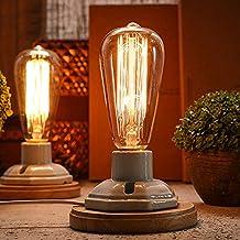 injuicy iluminación Loft Vintage Industrial Edison Lámpara de escritorio de madera LED lámparas de mesa lámpara de noche cerámica Base casquillo E27soporte lámpara de mesa para diseño de dormitorio salón Cafe Bar decoración, Button Switch 60.00 wattsW