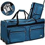 Deuba® XXL Reisetasche ✔mit Trolleyfunktion ✔Rollen mit Kugellager ✔Teleskopgriff ✔abschließbar 160 Liter in Hellblau Sporttasche Reisetrolley Gepäcktasche