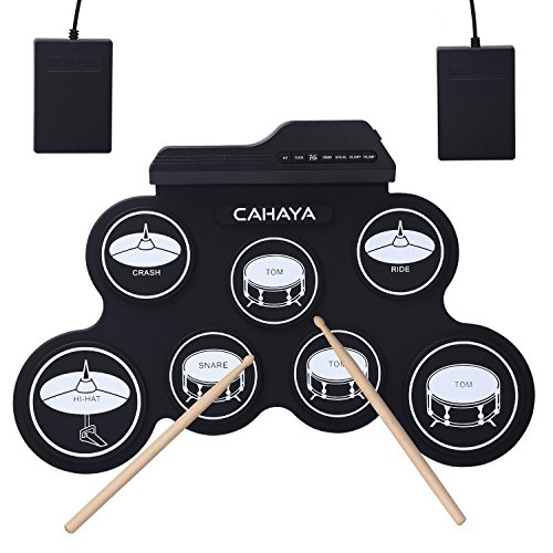 CAHAYA Elektronische Trommel Roll Up E-Drum Pad Perkussion Schlagzeug mit 2 Fußped und Drum Sticks für Anfänger und Kinder - Schwarz