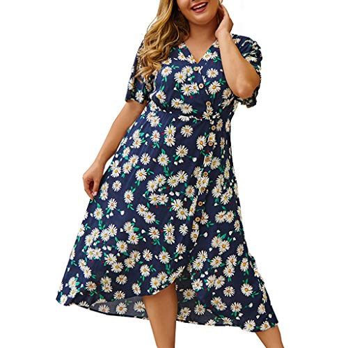 Clacce Strandkleid Sommerkleid Damen Frauen Plus Size V-Ausschnitt Blumendruck Kurzarm Boho Kleid Party Maxi Kleid Partykleid Cocktailkleid (Herren-taillen-gurt Size Plus)