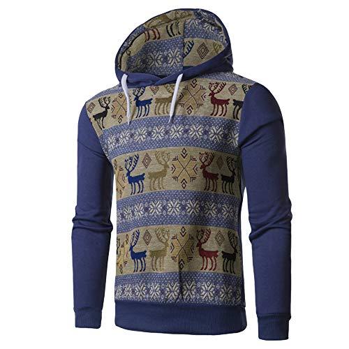 (Weihnachtsmänner Pullover, JiaMeng Weihnachten lässig ethnischen Wind Hirsche Kapuze Sweatshirt Kapuzenpullover Winter warme Tops)