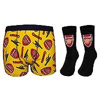 Arsenal FC Official Gift Set Boys Socks & Boxer Shorts Yellow 11-12 Yrs