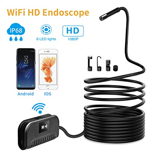 JIANG Endoscopio WiFi, 2 Millones de endoscopios telefónicos industriales a Prueba de Agua para telefoto endoscopio 1080, 6 Luces LED Ajustables,10M