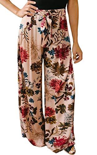 Spec4Y Damen Lang Hosen Weites Bein Blumen Sommerhosen Gummibund Freizeithose Hohe Taille Strandhose mit Taschen und Gürtel Rosa S