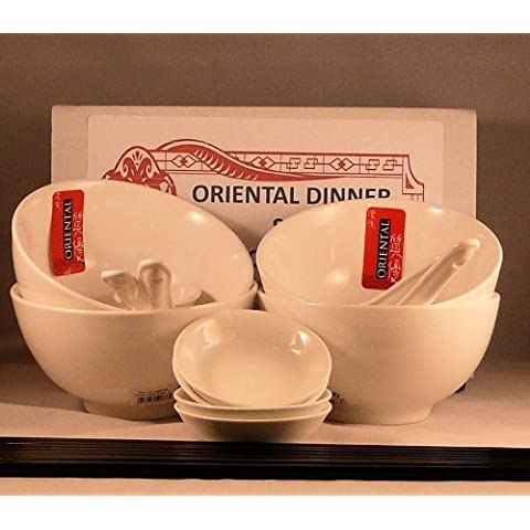 20 Piece restaurant quality vitrified porcelain Oriental Chinese Dinner Set for FOUR consisting of 4 Rice Bowls, 4 Spoons, 4 Dip Bowls, 8 Black melamine Chopsticks. by Bonzza Oriental