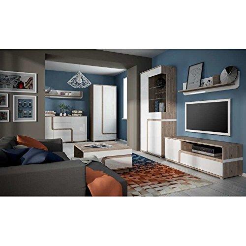 JUSThome MILANO II Wohnzimmerset Wohnzimmermöbel Wohnwand Farbe: Nelson Eiche / Weiß Hochglanz