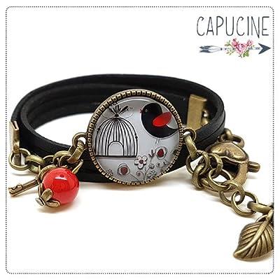 Bracelet noir cabochon verre cage à oiseaux - Bracelet cage aux oiseaux breloques bronze - Bracelet multirangs - Bracelet En Rouge & Noir