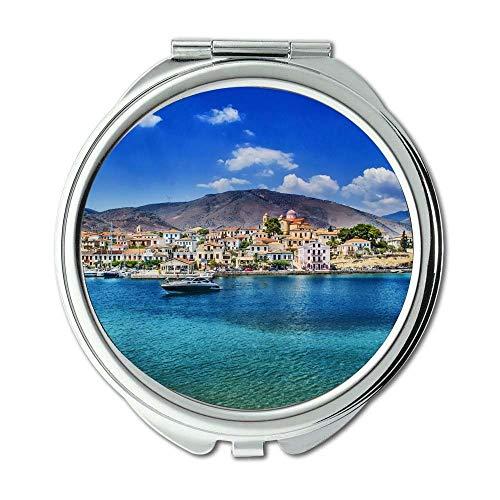 Yanteng Spiegel, Travel Mirror, Bay Beach blau, Taschenspiegel, tragbarer Spiegel