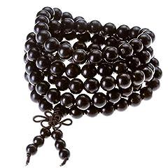 Idea Regalo - Jovivi Gioielli, Collana e braccialetto elastico da uomo e donna, tibetano buddista con perline in legno di ebano nero naturale da 8 mm