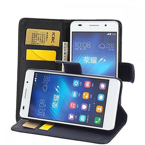 ECENCE Huawei Honor 6 Coque de Protection Étui Housse Pochette Wallet Case Cover Noir + Verre Trempé 22010101