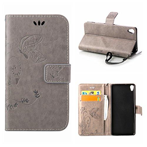 MOONCASE Xperia X Hülle, Schmetterling Tasche Pu Leder Klappetui Bookstyle Schutzhülle für Sony Xperia X Handyhülle Magnetisch [Card Slot] TPU Case mit Standfunktion und Wrist Strap Grau