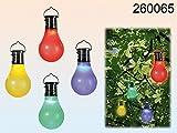 Beleuchtung Glühbirne mit Solarzelle und LED farbig aus Kunststoff zum Aufhängen 10x5cm