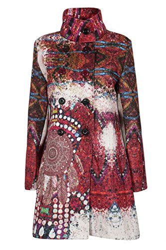 Moda Italy Damen Trenchcoat Mantel Military Style Stehkragen Doppelreihige Knopfleiste Bunt Patchwork Muster (XXXL/46, Beere-Rot)