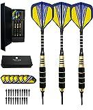 heinsa Dartpfeile, Dartpfeile mit Kunstoffspitze (18g) 3 Softdarts Set Profi Soft Darts mit Kunststoffspitze Steel Darts