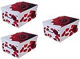 3 Stück XXL Dekokarton, Geschenkkarton Rote Rosen mit tollem Rosen-Motiv. Praktisch und edel für Haushalt, Büro oder zum Verschenken! Mit Griffen zum Tragen und XXL Volumen!