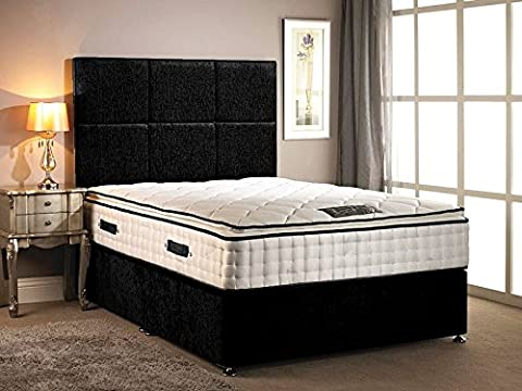 Divan Bed chenille fabric different colour with High Pillow top 30cm Deep mattress with four drawers with headboard in different size variation (Black, 4FT6 DOUBLE)
