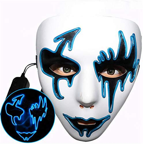 Halloween-Maske, handbemalte Street Dance Pfeil leuchtendes Gesicht, Horror lustige LED Fluoreszierende grüne Festival Cool Cheek Veil Blue (Crazy Dance Kostüm)