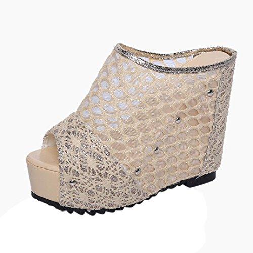 Sandali Koly Scarpe da principessa Pendenza dei sandali di modo Pantofole della testa del capo della pesca delle donne Gold