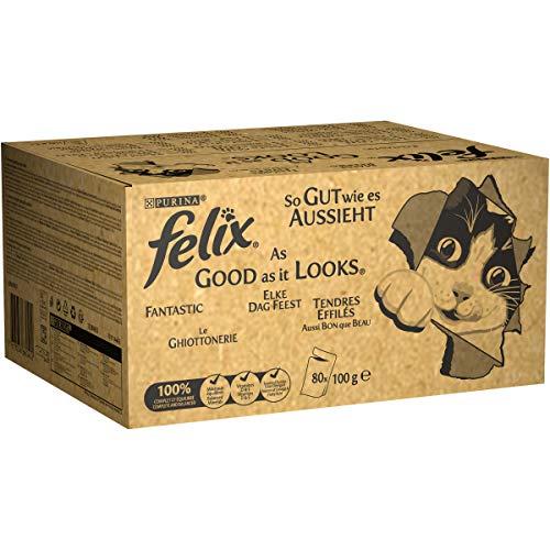 Felix Purina Ghiottonerie Umido Gatto con Manzo, Pollo, Salmone e Tonno, 80 Buste da 100 g Ciascuna