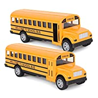 Think Wing Pull Back School Bus Toy- 5 Inch 2 Set Alloy Die-cast Play Vehicles with Pull Back Mechanism and Open Doors for Toddlers