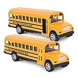 Think Wing Autobus Giocattolo per Bambini, scuolabus da 5 Pollici modellini di macchinine per Bambini e Ragazzi (2 Pezzi)
