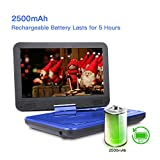 from DBPOWER DBPOWER 10.5 Portable DVD Player, 5 Hour Rechargeable Battery, Swivel Screen, Supports SD Card and USB, Direct Play in Formats AVI/RMVB/MP3/JPEG (10.5, Blue)