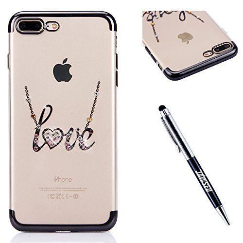iPhone 6S Plus Strass Hülle,iPhone 6 Plus Handyhülle,JAWSEU Luxus Cool Kreative Shiny Sparkle Halskette Muster Rose Gold Plating Crystal Klar Silikon Bling Glitzer Shiny Bumper Case Schutzhülle Diaman Schwarz,Love