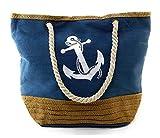 Tinke Damen Strandtasche Große Canvas Schultertasche Mit Reissverschluss Für Shopping, Strand,...