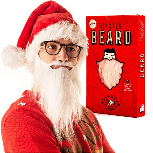 Fake White Beard - Adult costume beard fancy dress or when you just need an elastic fake beard and moustache. The perfect false gandalf beard dress up gift for any Wizard or Santa Wannabe