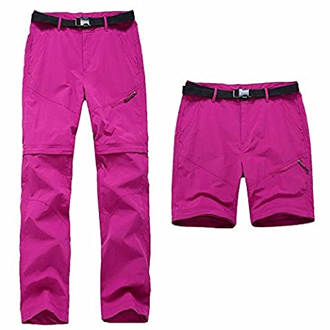 Lanbaosi Pantalon de Randonnée Convertible Femme Pantalons Extérieure Imperméable Rose L/FR 36