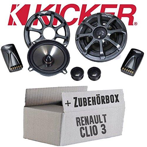 Kicker-sound-system (Kicker KS50.2-13cm Lautsprecher Boxen System - Einbauset für Renault Clio 3 Front Heck - JUST SOUND best choice for caraudio)