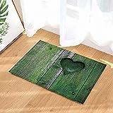 FEIYANG Badeteppiche des Valentinstags grüne Retro hölzerne Planke voll des Moos-Herzens Rutschfeste Fußmatte-Boden-Eingangs-Eingangs-Haustür-Innenmatte scherzt Bad-Bad-Matten